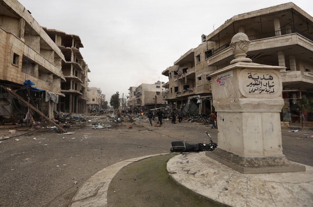 La ville de Maaret al-Numan, dans la province d'Idleb, le 3 janvier 2018 après des frappes aériennes.
