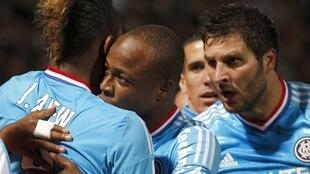 Jordan Ayew (g.) de l'Olympique de Marseille, après son but contre Nancy, le 16 septembre 2012.