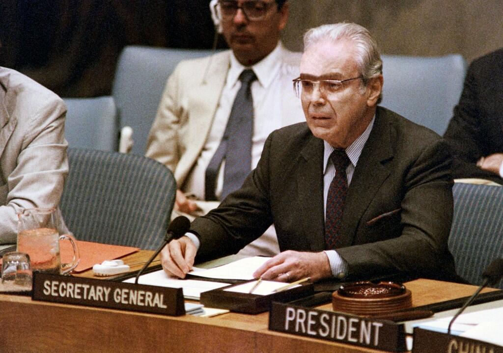 Javier Perez de Cuellar, em agosto de 1988