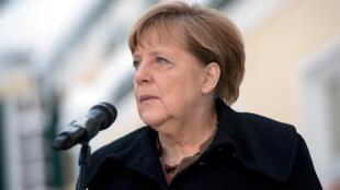 La chancelière allemande Angela Merkel lors d'une réunion de la CSU (Union chrétienne-sociale), alliée bavaroise de son parti la CDU (Union chrétienne-démocrate), à Wildbad Kreuth, le 20 janvier 2016.