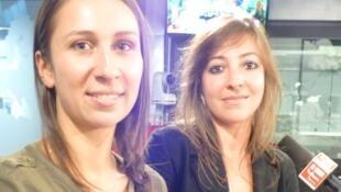 Amanda Chaparro y Pauline A. Domínguez, en los estudios de RFI