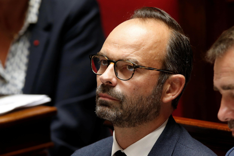 O Primeiro-ministro de França, Edouard Philippe, na Assembleia Nacional durante debate sobre a reforma do Código  do Trabalho . Paris.12 de Julho de 2017