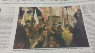 Matéria publicada no jornal Le Monde desta quarta-feira (28) sobre o fenômeno dos evangélicos na política brasileira.