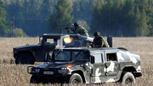 Белорусские военные на учениях, 25 августа 2017 года.