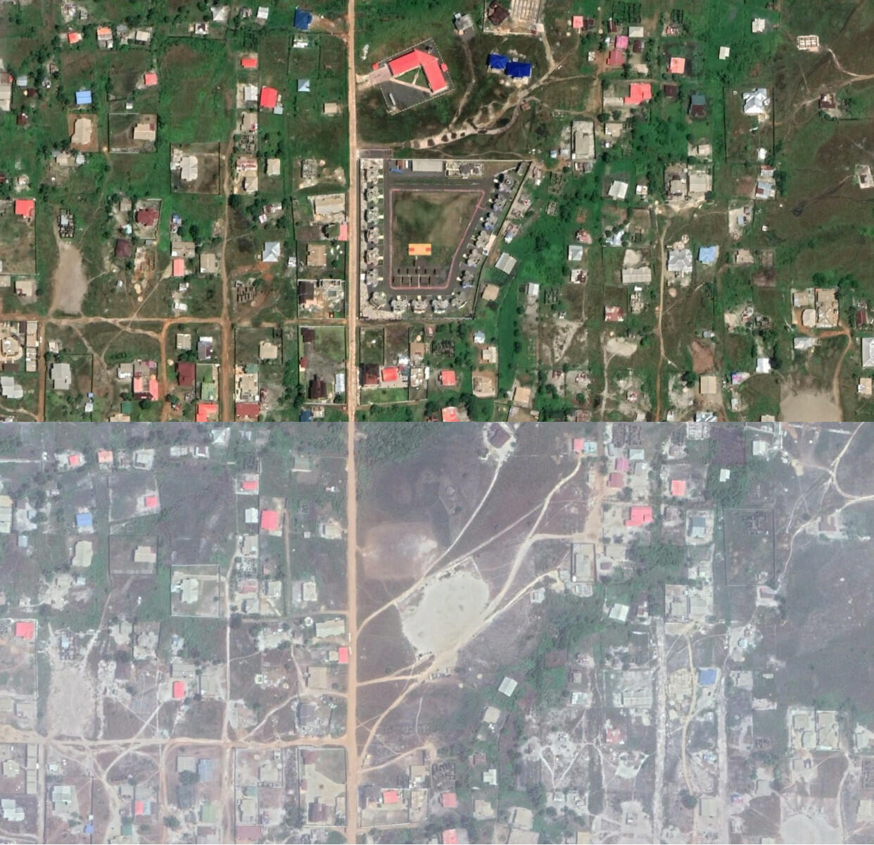 Satellite imagery showing land purportedly owned by Weah having been extensively developed since February 2018 and today.