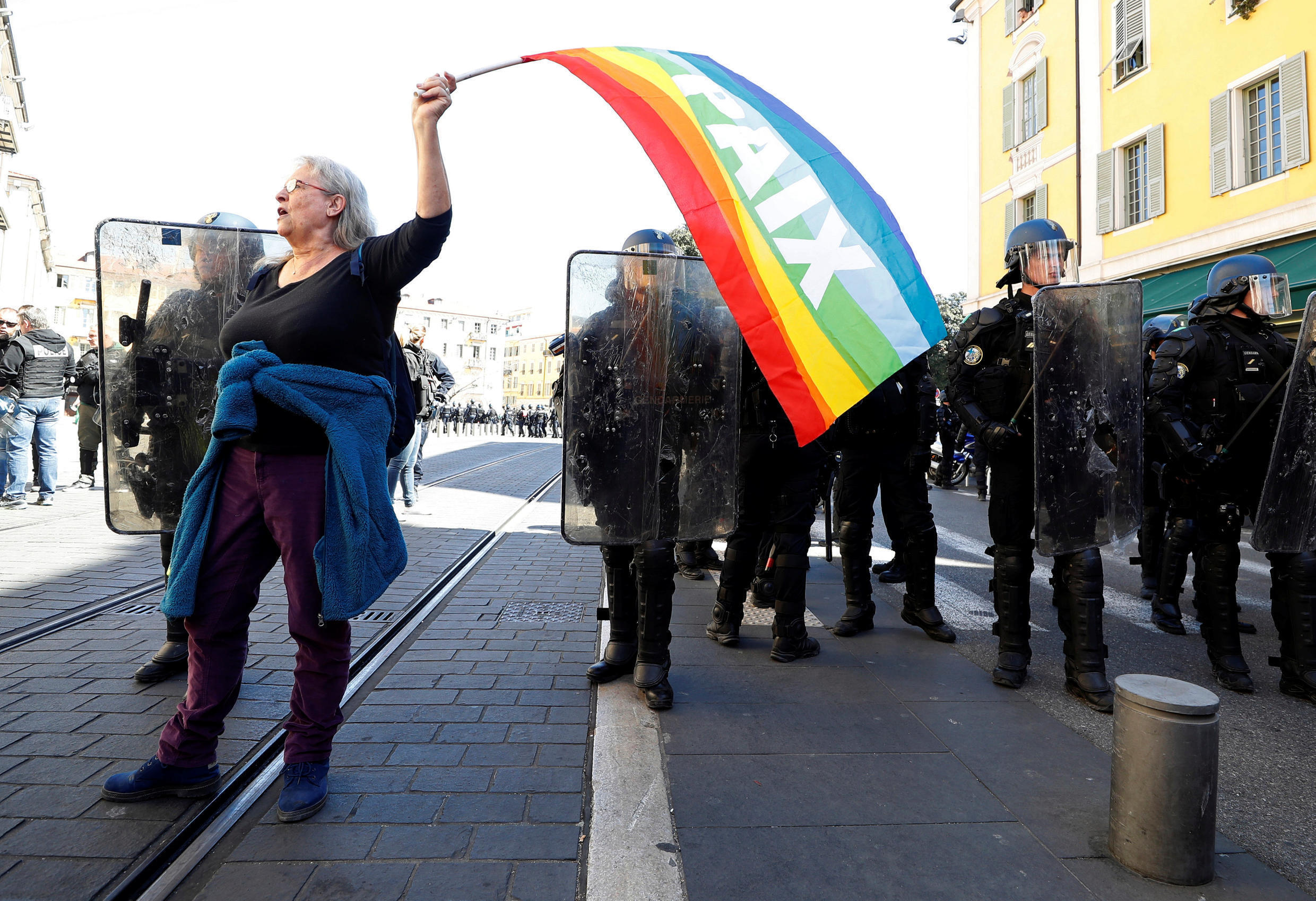 Activist Genevieve Legay protesting in Nice before she was injured on 23 March, 2019.