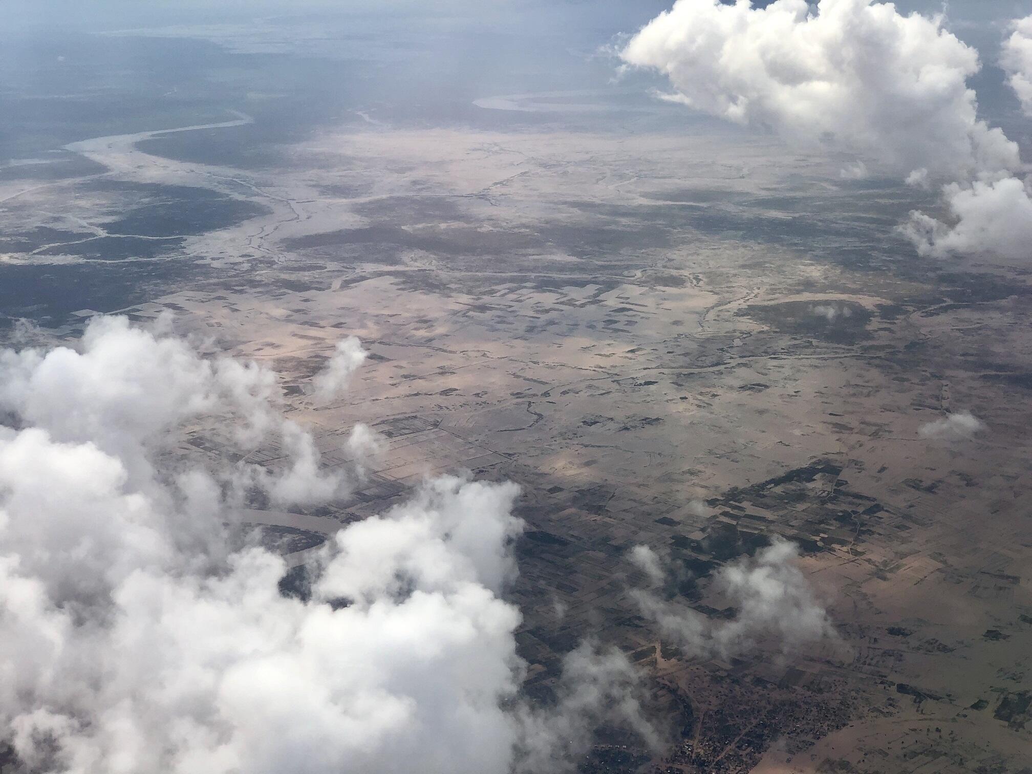 Vista aérea do aeroporto da Beira, devastada pelo ciclone Idai.
