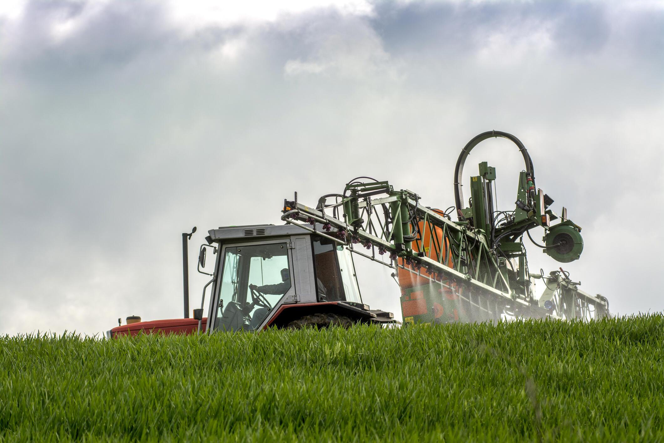 Un agriculteur français disperse de l'engrais sur son champ de blé.