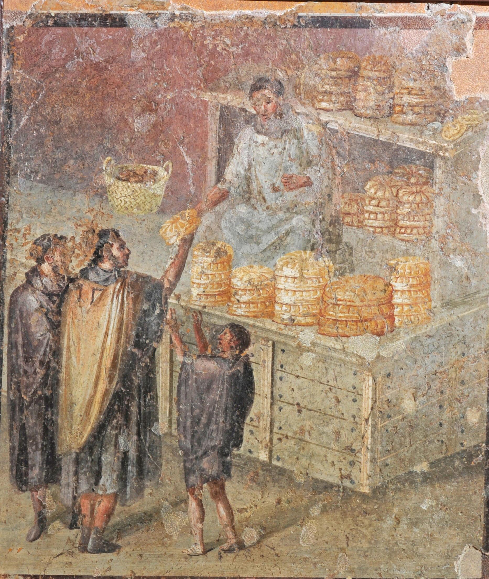 Помпейская фреска. Избиратели обменивают свои голоса на хлеб.