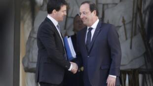 法国总统奥朗德与新总理瓦尔斯