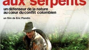 """Afiche de la película del cineasta Eric Flandin """"El hombre de las serpientes""""."""