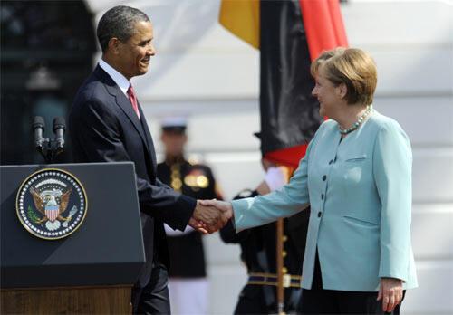 Barack Obama welcomes Angela Merkel to the White House - Libya is on the agenda of their meeting