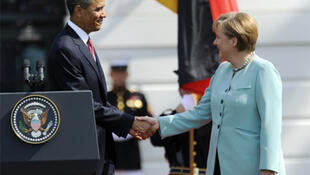 Barack Obama welcomes Angela Merkel to the White House - Libya is on the agenda of their meeting