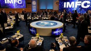 Reunião plenária entre o FMI e o Banco Mundial em Washington, nos Estados Unidos, em 21 de abril de 2018.