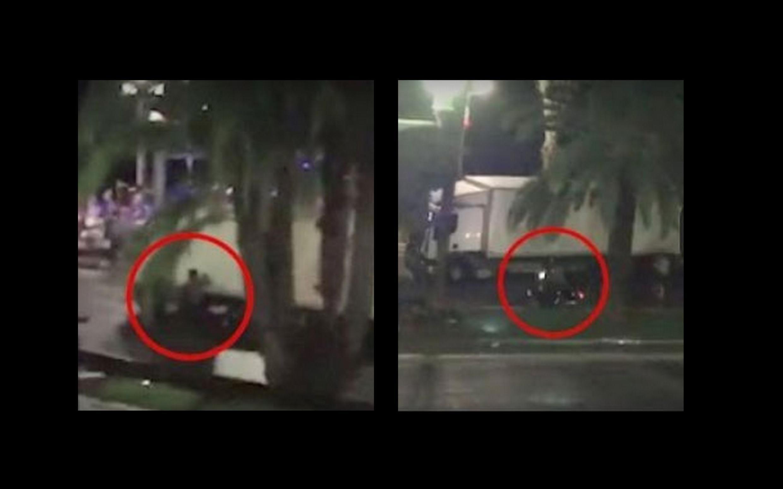 Captura de vídeo do motociclista que tentou parar o caminhão que avançou contra a multidão na noite de quinta-feira (14) em Nice.