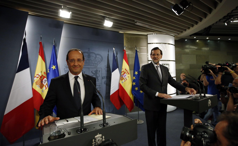 Совместная пресс-конференция Франсуа Олланда и Мариано Рахоя во дворце Монклоа в Мадриде 30/08/2012