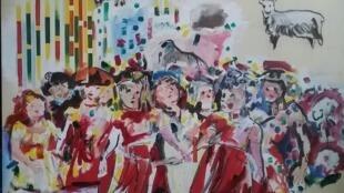 Obra de la artista venezolana, Vivian Azapche, conmemorando el primer aniversario de la oveja Dolly.