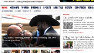 Hoton shafin farko na jaridar New Times mai zaman kanta da ke kasar Sudan ta Kudu.