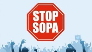 Le logo de la campagne des opposants à la loi SOPA.