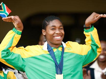 In happier times: Caster Semenya celebrates her gold medal win