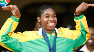 In happier times: Caster Semenya celebrates her gold medal win
