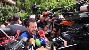 Italian Deputy Prime Minister and leader of far-right League party Matteo Salvini after casting his vote in EU elections, Milan, Italy 26 May 2019.