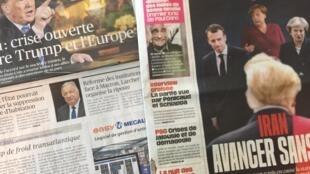 Primeiras páginas dos jornais franceses de 10/05/2018