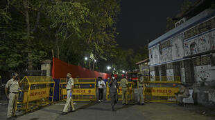 Police officers were stationed outside the Arun Jaitley Stadium
