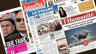 Capa dos jornais franceses Libération, Le Figaro, L'Humanité, Les Echos e Aujourd'hui en France desta quarta-feira, 30 de julho de 2014.