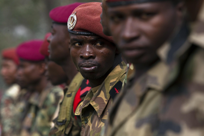 2014年2月5日, 接受新任總統桑巴 - 潘沙檢閱的中非士兵。