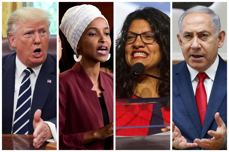 Fotomontagem com o presidente Donald Trump, as duas deputados muçulmanas,Ilhan Omar e Rashida Tlaib, e o primeiro-ministro israelense Benyamin Netanyahu.