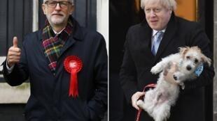 Firaministan Birtaniya Boris Johnson tare da abokin karawarsa Jeremy Corbyn.