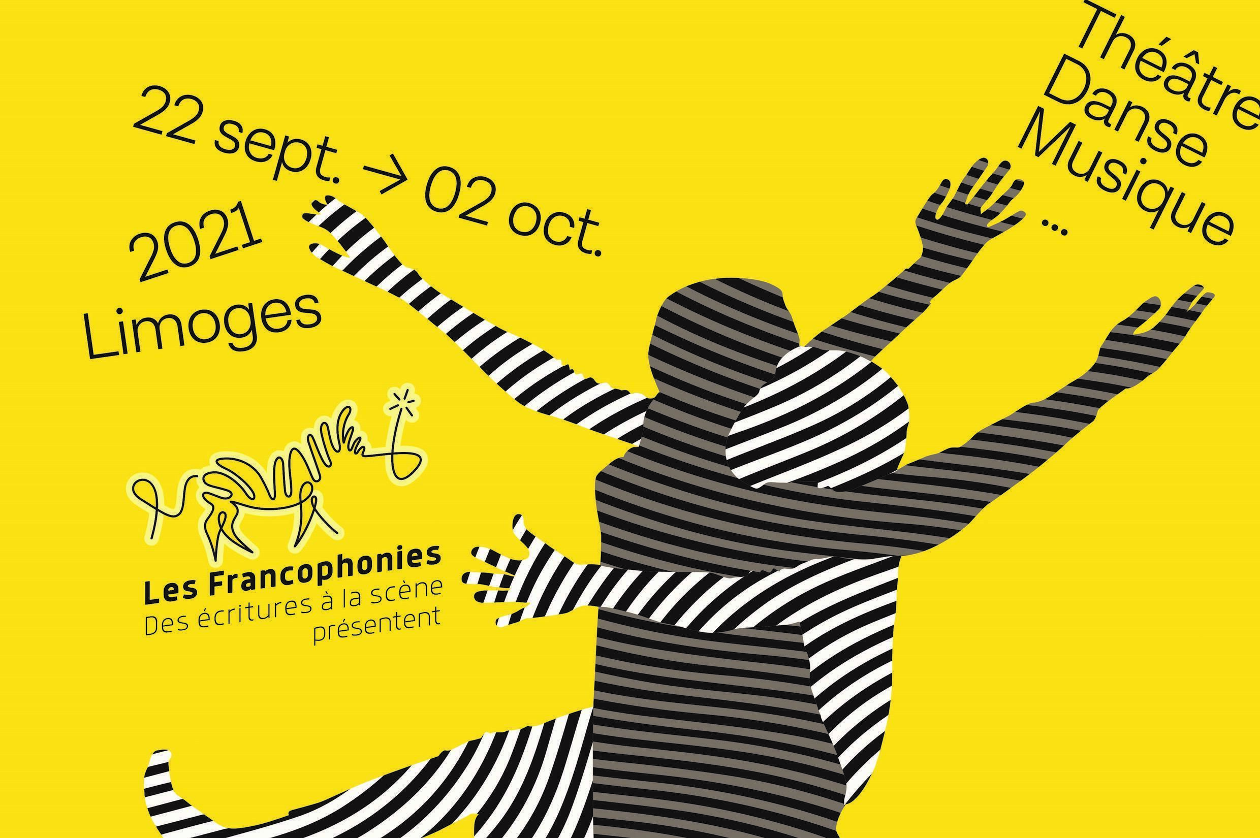 Detail of the poster for the 2021 edition of the Zébrures d'Automne des Francophonies, writings on the stage, in Limoges.
