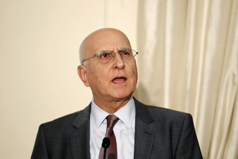 Stavros Dimas, candidat dugouvernement pour la présidentielle, à Athènes, en mai 2012.