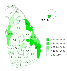 Les musulmans au Sri Lanka (recensement 2012).