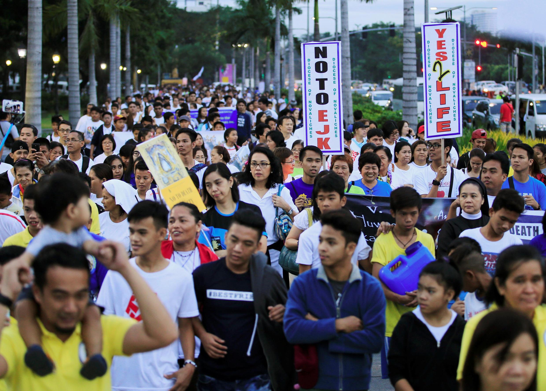 Biểu tình tại Manila chống chiến dịch bài trừ ma túy của tổng thống Duterte ngày 18/02/2017.