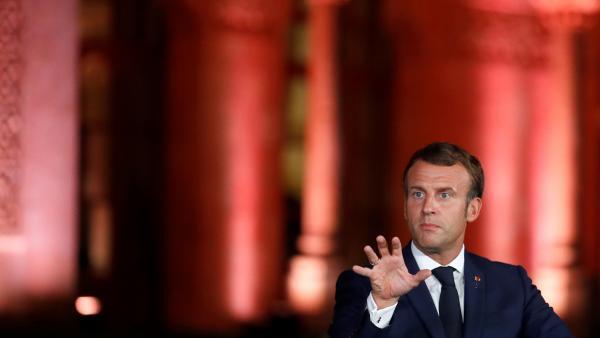 Emmanuel Macron lors de sa conférence de presse à la Résidence Pine, la résidence officielle de l'ambassadeur de France au Liban, à Beyrouth, le 1er septembre 2020.