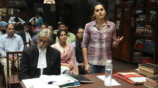"Amitabh Bachan (Deepak Sehgal) and Tapasee Pannu (Minal Arora) in the movie Pink on women's right to say ""no"" in cases of sexual assaults"