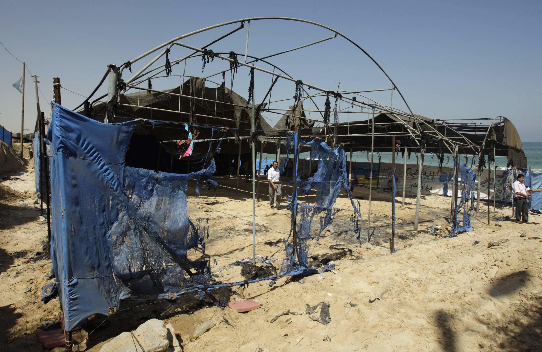 Сожженный детский летний лагерь ООН в Газе