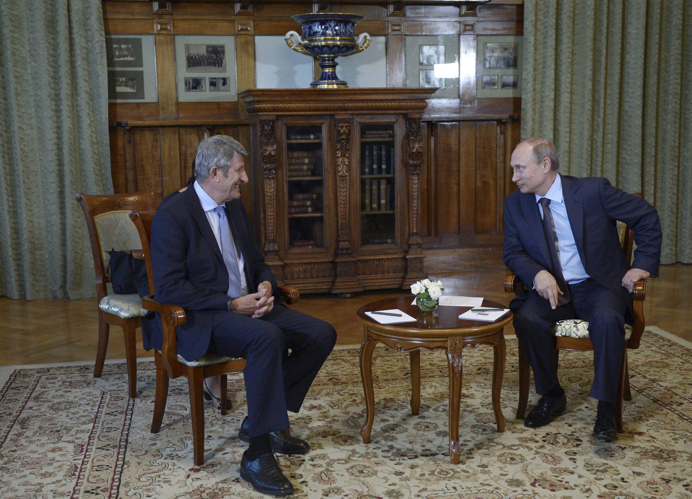 Philippe de Villiers at a meeting with Vladimir Putin in Yalta, August 14, 2014.