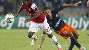 Gervinho, pendant le match Arsenal/Montpellier, le 18 septembre 2012.