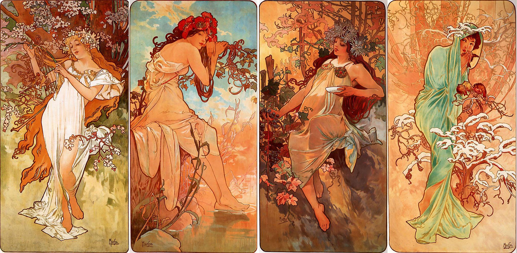 چهار فصل اثر آلفونس موخا در سال 1896