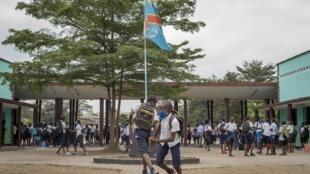 Des élèves dans la cour de l'école technique et commerciale à Kinshasa. (Illustration).