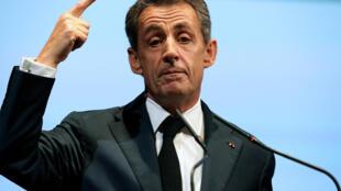 Nicolas Sarkozy, président du parti Les Républicains, pendant le discours de clôture de la réunion des parlementaires du parti. Reims, le 24 septembre 2015.