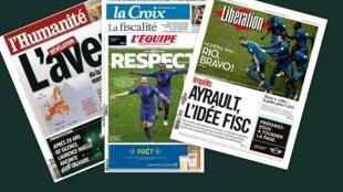 Capa dos jornais franceses L'Humanité, Libération, L'Equipe e La Croix desta quarta-feira, 20 de novembro.