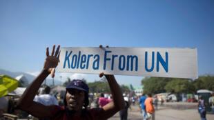 Участник акции протеста против миссии ООН в столице Гаити Порт-о-Пренс, 18 ноября 2010 года.
