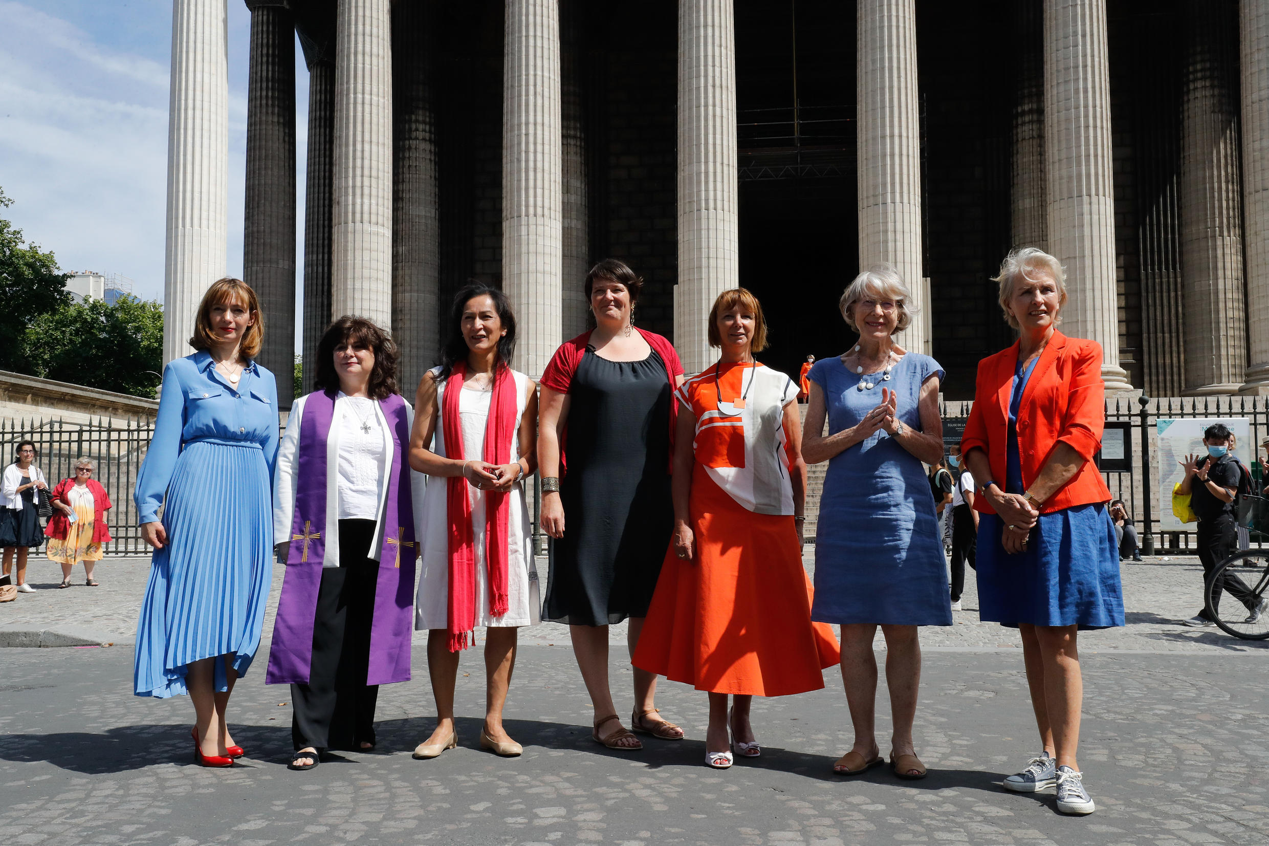 From left: Helene Pichon, Christina Moreira, Loan Rocher, Marie-Automne Thepot, Sylvaine Landrivon, Anne Soupa and Laurence de Bourbon Parme at the Madeleine church in Paris on Wednesday.