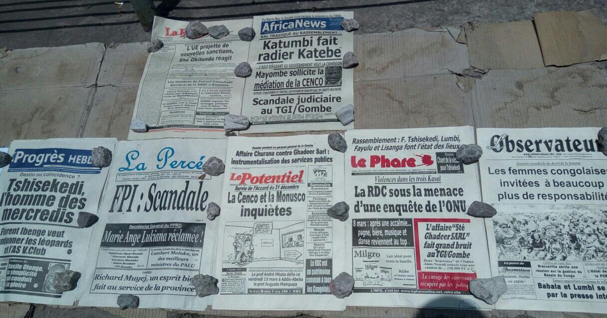 Newspapers on the streets of Kinshasa