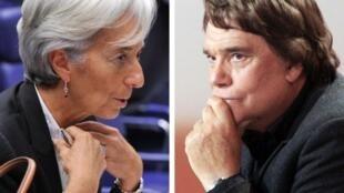 La directora gerente del Fondo Monetario Internacional, Christine Lagarde y el empresario francés Bernard Tapie (fotos de archivo).