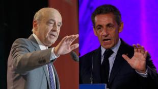 Alain Juppé (g) et Nicolas Sarkozy (d), candidats à la primaire de la droite et du centre.